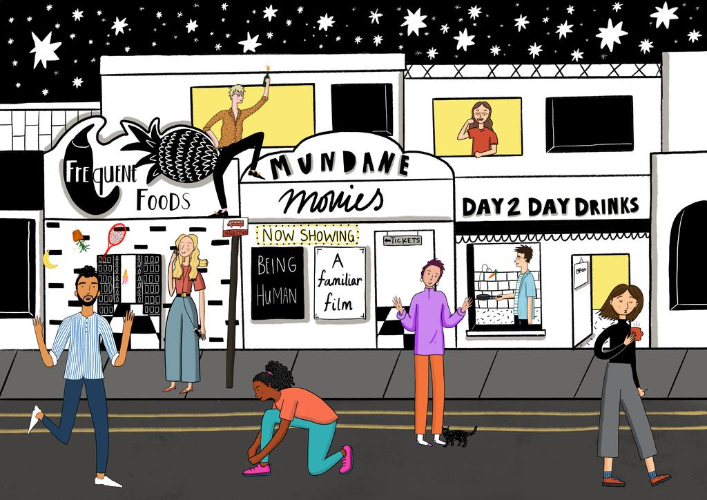 Street scene illustrated by Beth Holland