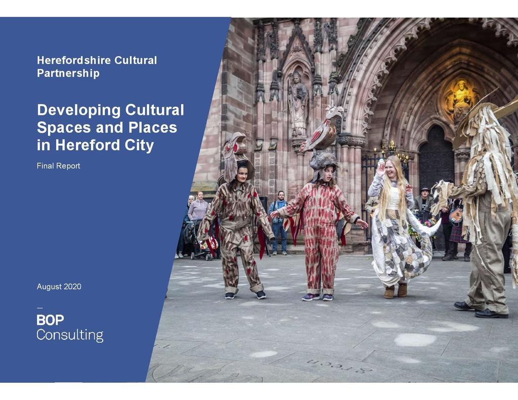 Front cover of Developing Cultural Spaces and Places report published Autumn 2020